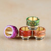 Wholesale golden skins - Snake Skin Grid Pattern Gold Stainless Steel 810 Thread Epoxy Resin Golden Drip Tips Wide Bore Mouthpiece for TFV8 TFV12 Kennedy DHL