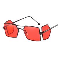 ingrosso occhiali da sole gialli-China Red Lens Shield Occhiali da sole Four Lens Men Square Punk Antivento Metal Frame Oro Rosso Giallo Nero Vintage Occhiali da sole Uomo 2018 AA83