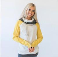 Wholesale Girls Solid Yellow Hoodie - New Autumn Winter Color Stitching Tops Women Girls Fashion Long Sleeve Hoodies Diagonal Zipper Sweater RF0397