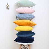 ingrosso cuscino rosso cane-Modo creativo di colore solido di alta qualità semplice europeo moderno retrò olandese velluto velluto federa divano cuscino copertura all'ingrosso