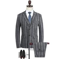 verheiratete männer anzüge großhandel-Will Code Business Affairs männlich Anzug Mann Anzug Beruf Kleid heiraten Bräutigam Full Dress Grey Stripe