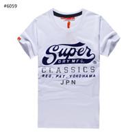 Wholesale European T Shirts Men - New Brand Superdry T-Shirt Men's Short Sleeve Cotton Jersery Tee Shirts Print Super dry Round Collar Casual Shirt Tops