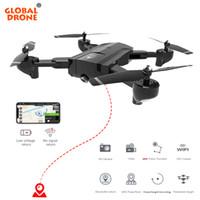 2ch rc helicopter remote control venda por atacado-Global Drone RC Helicóptero Fly Câmera HD Dobrável FPV Drone Profissional GPS Quadcopter Siga-me Drones Com Câmera HD