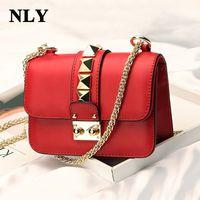 Wholesale Stud Handbags - 2017 Fashion Ladies Womer Leather Handbag Shoulder Crossbody Messenger Bag Mini Lock Stud Pyramid Rivet Chain Strap Bag
