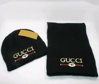 ingrosso set di sciarpe invernali-Z spedizione gratuita Sciarpa e berretto per uomo e donna marchio straniero berretto invernale set set sciarpa firmata