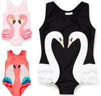 Wholesale baby girls one piece dress resale online - One piece Kids Girls Baby Swimwear Black Swan Pink Flamingo Melon Parrot Swimsuit Bathing Cap Princess Dresses Clothing Y145
