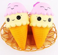 Wholesale ice cream cone toy - 16cm Jumbo Squishy Ice Cream Cone Smile Squishies Toy Big Scent Slow Rising Food DHL Free Shipping