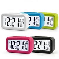 thermomètre led livraison gratuite achat en gros de-5 couleurs LED numérique LCD réveil heure calendrier thermomètre snooze rétro-éclairage horloge livraison gratuite A-666