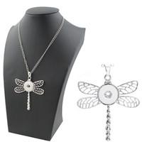 corrente da colar da libélula venda por atacado-2018 alta qualidade noosa libélula charme pingente de colar com corrente fit 18 / 20mm botões de pressão