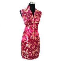 damas chinas cheongsam al por mayor-Vestido de mujer chino tradicional de Borgoña Vestido de mujer Vestido de satén femenino con cuello en v Mini Cheongsam Qipao Talla S M L XL XXL XXXL JY012-7