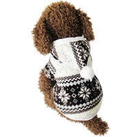 chaqueta punteada al por mayor-Caliente del invierno para mascotas ropa para perros de Navidad caliente suave del copo de nieve de invierno acogedor chaqueta de punto ropa del traje Escudo para el pequeño perro de peluche con capucha