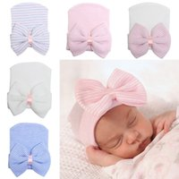 Wholesale girl baby cap hair resale online - Baby girls bow hat newborn stripe beanie hats toddler kids knitting hair accessories infant boy bonnet winter photography caps C3752