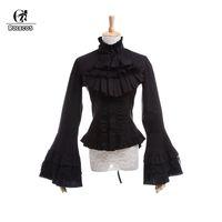 блуза викторианская оптовых-ROLECOS Gothic Lolita Blouse Victorian Women Shirt Retro Medieval Lace Lolita Blouse Tops SK for Party Plus Size Long Sleeve