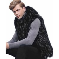 искусственные меховые покрывала оптовых-New Men Autumn Winter Sleeveless O-Neck Hooded Faux Fur Waistcoat Covered Buttons Slim Fashion Casual Male 6Q2100