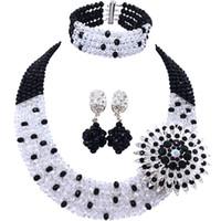 черные шарики для продажи оптовых-Hot Sale Black Transparent African Crystal  Bridal Jewelry Sets for Women 5C-SZ-08