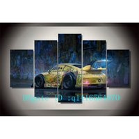 Wholesale Oil Painting Framed Abstract Yellow - Graffiti Yellow Car,5 Pieces Canvas Prints Wall Art Oil Painting Home Decor  (Unframed Framed)