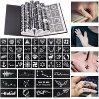 ingrosso modelli di tatuaggio-17 fogli 264 mappe professionali tatuaggio impermeabile all'henné modelli temporanea scintillio aerografo tatuaggio dito mano disegno