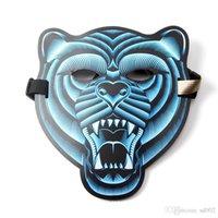 ingrosso maschera audio-Pratica Halloween El Mask Led Sound Control Tide Cold Light Masquerade flessibile portatile con molte maschere di stile 36 5ys cc