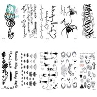 Wholesale pistol style online - AS225 Classical Waterproof Fake Tattoo Styling Tools Stickers Snake Pistol Black Feather Temporary Tattoos Body Art Tattoo