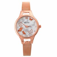 Wholesale metal mesh belt resale online - Fashion women roma butterfly design mesh alloy metal belts watch ladies casual girls students dress quartz wrist watch