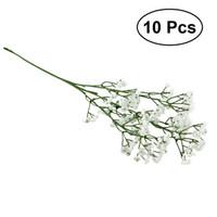 Wholesale real touch flower arrangement - 10Pcs Artificial Gypsophila Wedding Decorative Flowers Fake Bride Bouquets Real Touch White Flowers DIY Home Arrangements Decor