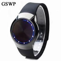 akıllı dokunmatik ledli saat toptan satış-GSWP Marka Yaratıcı Minimalist Dokunmatik Ekran Akıllı LED Izle Su Geçirmez Yaratıcı Erkekler İzle Elektronik Casual Kadın Saatler S927