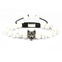 Wholesale animal marbles - Top Quality Mens Bracelet Wholesale 10pcs lot 8mm White Howlite Marble Stone With Antique Silver Stainless Steel Wolf Macrame Bracelets