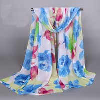 Wholesale red rose scarf - Fashionable New Soft Wear Women Ladies Lightweight Chiffon Scarf Shawl Big Blooming Rose Flowers Florals Prints Scarves Shawls
