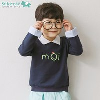 Wholesale Korea Top Tee - New Korea Brand Boys Tops T-shirts Casual Long Sleeve T-shirt Tops For Boy Cotton Navy Blue Cute Kids Tees boy A8456