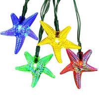 arbre solaire s'allume en blanc achat en gros de-Starfish Solar String Lights 6 M 30 LED En Plein Air Fée Lumières Étanche Night Light Party Arbres De Jardin Lampe En Gros Dropship