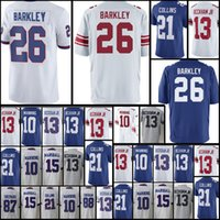 Wholesale giant xxl - York 26 Saquon Barkley Giants Jersey Men's 10 Eli Manning 13 Odell Beckham Jr. 21 Landon Collins 15 Marshall 87 Shepard Jerseys