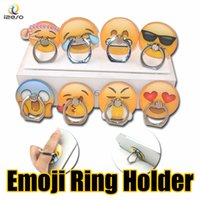 Wholesale mobile back stickers resale online - Emoji Acrylic Finger Ring Holder Universal M Glue Flexible Cute Emotion Cellphone Back Sticker Ring Grip Stand for iPad All Mobile Devices