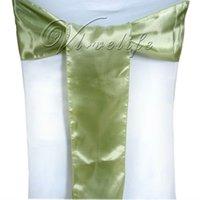 светло-зеленый стул оптовых-Оптово-Бесплатная доставка 50шт. Светло-зеленый атласный стул Пояса Луки 15смX275см Поставка украшений для свадебной вечеринки