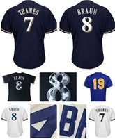 Wholesale Robin Baseball - Men's #19 Robin Yount 8 Ryan Braun 7 Eric Thames Jersey 100% stitched Embroidery Baseball Jerseys Cheap wholesale