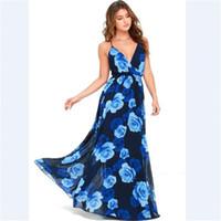 en iyi yaz maxi elbiseleri toptan satış-Toptan ücretsiz kargo Yaz Kadın straplez kolsuz çiçek baskı tam boy şifon uzun maxi plaj elbise