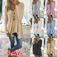 Wholesale Women Jumpers Cardigans - Long Sleeve Cardigan Knitted Sweater Long Sleeve V Neck Jumper Pullover Blouse Loose T Shirt 6 Colors 5pcs OOA3866