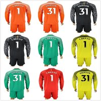 Wholesale football moon - 2017 2018 Long Sleeve Blue Moon Soccer Jerseys Claudio Bravo Goalkeeper Jersey C. Bravo Ederson Green Orange Adults Uniforms Football Sets