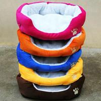 pfotenabdruck decke katze großhandel-Buntes Haustierbett Hund Katze Bett Baumwolle warme Hundebetten in Winterfarbe Rot Orange Blau Braun Gelb Rose Rosa Größe M L