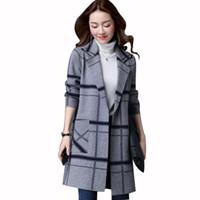 Wholesale types women sweaters - 2018 New Arrival Autumn And Winter Knit Sweaters Cardigan Large Plate-Type Coat Large Size Women Loose Long Section Fat Knitted