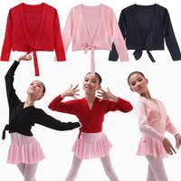 bailarina de ballet latino al por mayor-iEFiEL Kids Girls Knied Ballet Ropa de baile latino Suéteres Abrigo Traje de gimnasia para niños Abrigo informal Abrigo de calentamiento 4-12Y