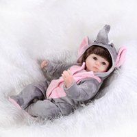 Wholesale Elephant Vinyl - Nicery 18inch 45cm Reborn Baby Doll Magnetic Mouth Soft Silicone Lifelike Girl Toy Gift for Children Christmas Gray Elephant