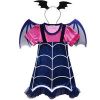 Wholesale halloween celebration resale online - Vampirina Cartoon Deisign Half Sleeves Costumes Dress For Kids Children Party Celebration With Hair Band Halloween XMAS Clothing HH7