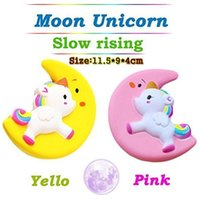 Wholesale Christmas Phones - Slow Rising Squishy UNICORN MOON Icecream Flash Powder Kawaii Phone Charms Pendant Straps Christmas Gift Stress Reliever OOA4818