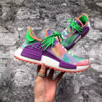 Wholesale Flash Sneakers - 2018 Human RACE Pharrell X 2ADIDAS NMD Hu Trail Holi Running Sneakers For Men Womne Chalk Coral Flash Green-Lab Purple Sports Shoes