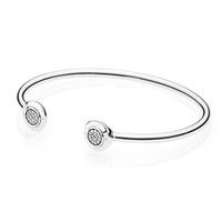 encantos de cuentas de plata de ley 925 al por mayor-Auténtica plata de ley 925 brazalete del pun ¢ o para las mujeres logotipo de la marca fit Pandora Charm Beads pulsera de plata DIY regalo de la joyería