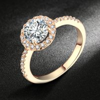 Wholesale Diamond Halo Wedding Ring - Swiss AAA+ CZ Diamond Halo Engagement Rings 18K Rose Gold Platinum Plated Crystal Round Ring Wedding Jewelry For Women DFR319