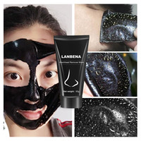 schwarze schlammporenmaske groihandel-LANBENA Blackhead Remover Nase Schwarz Maske Gesichtspflege Schlamm Akne Behandlung ablösen Maske Pore Streifen Hautpflege Peel Mask