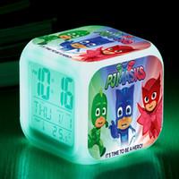 Wholesale square mask - New PJ Masks Anime digital Alarm Clock kids LED Colorful Flash wake up Light Pajamas Masks Cartoon Action Figure Toys gift