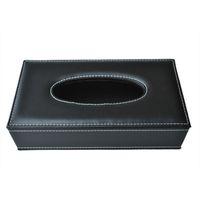 boîte à tissu achat en gros de-Voiture maison Rectangle en forme de Faux étui en cuir boîte à mouchoirs papier noir