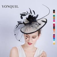 1ce4453f8f0 Wholesale elegant black ladies church hats for sale - New Elegant Ladies  Sinamay Wedding Fascinator Hat